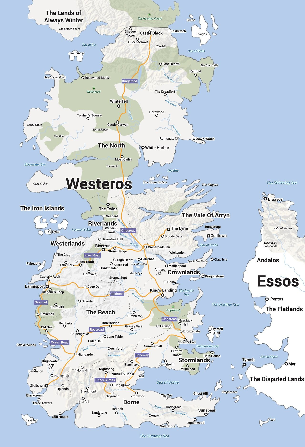 Westeros map from Game of Thrones. Interesting how it is a distorted on