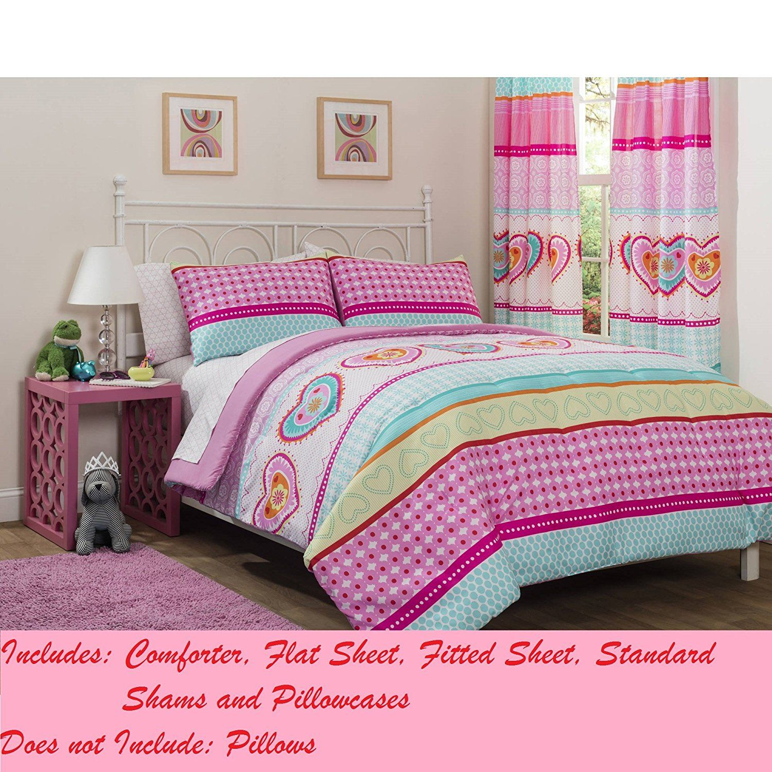 mainstays kids hearts and stripes patchwork bed in a bag bedding set twin