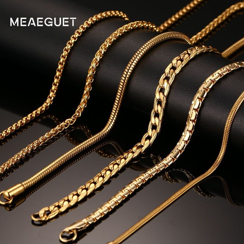 Meaeguet 20inch Gold Color Stainless Steel Chain Necklace For Men Women Snake Box Hanging Curb Flat Stainless Steel Chain Necklace Men Necklace Chains Necklace