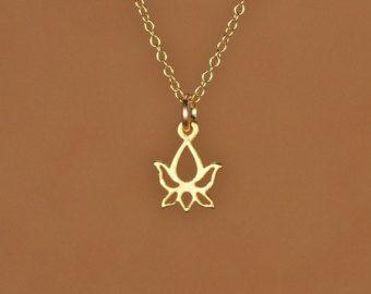 Lotus halsketting gouden lotus bloem ketting van BubuRuby op Etsy