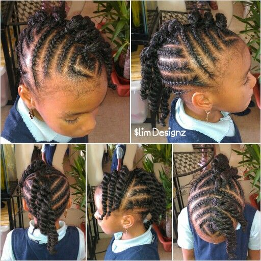 Children S Twisted Mohawk Cute Hairstyle For A Little Girl Black