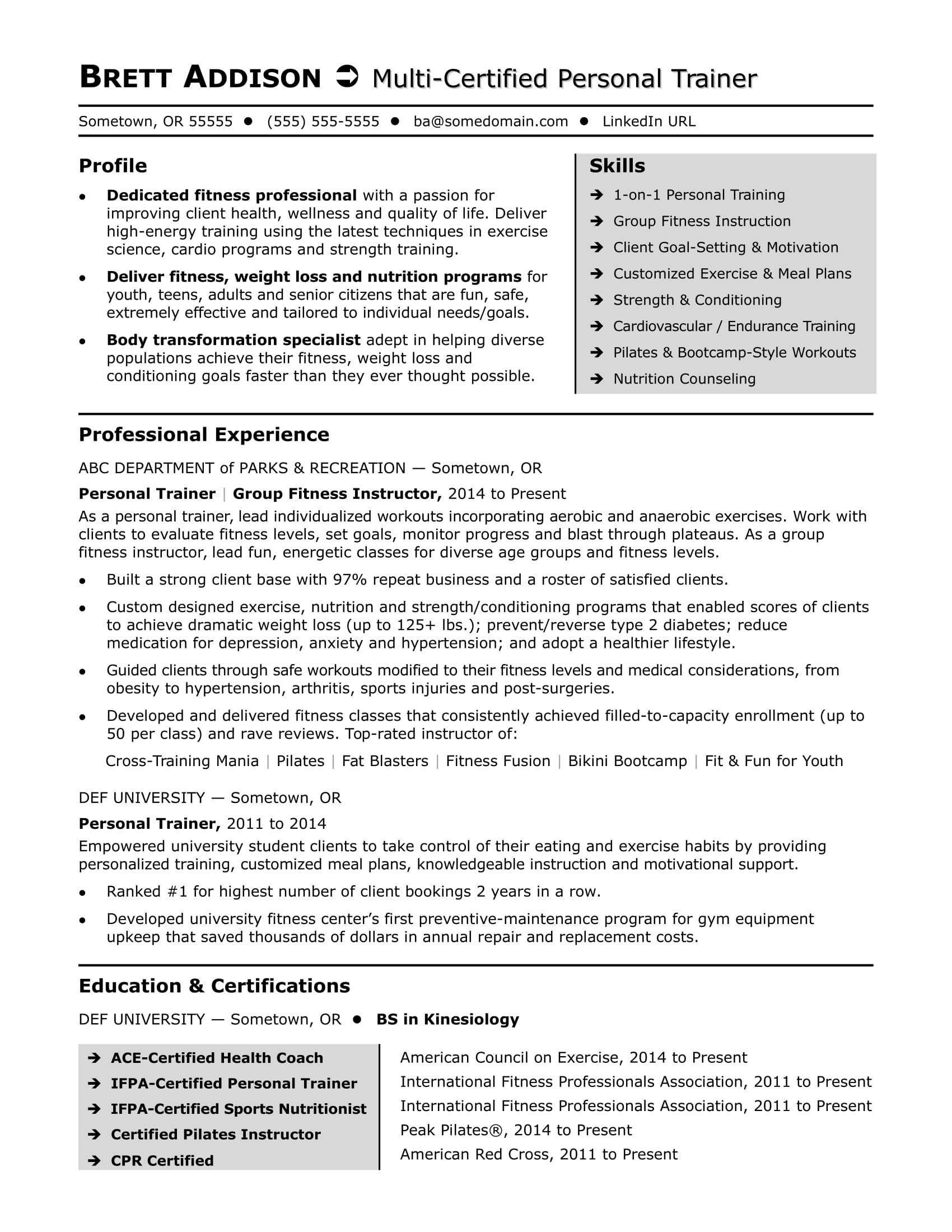 Sample Resume Zumba Instructor Personal Trainer Resume How To Plan