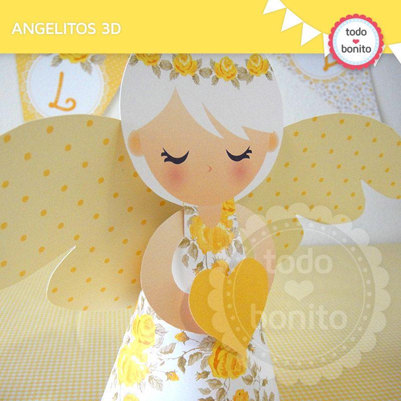 Angelitos 3D Mi Primera Comunión | Primera comunión trillis ...
