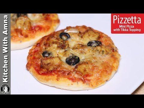 Pizzetta Recipe | Mini Pizza With Tikka Topping | Kitchen With Amna - YouTube   - Snacks -