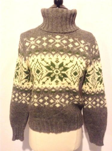 BENETTON Italy 100% Wool Fair Isle Nordic Icelandic Sweater Jumper Size XS S M