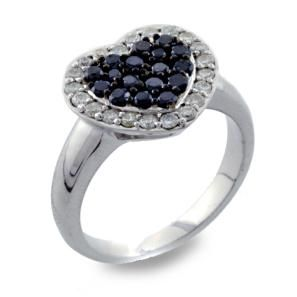 #Malakan #Jewelry - Silver Black Velvet Diamond Heart-Shaped Ring 55835A3 #BlackVelvetDiamond #BlackVelvetDiamonds #Heart #Hearts #Love