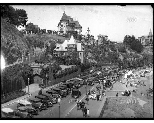 Vista de paseo costero, con sus castillos y chalets. -   (Av.Marina)    Fotog. año 1930   (X)