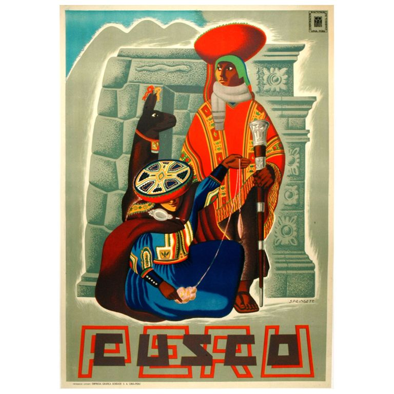 Original Vintage Travel Poster for Cusco - Peru | From a unique collection of antique and modern posters at https://www.1stdibs.com/furniture/wall-decorations/posters/