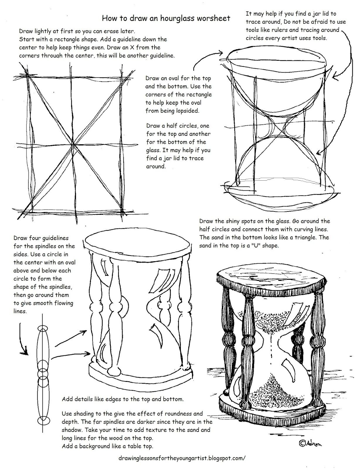 Printable How To Draw An Hourglass Worksheet And Lesson