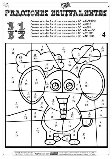 Fracciones Equivalentes Láminas Para Pintar Fracciones