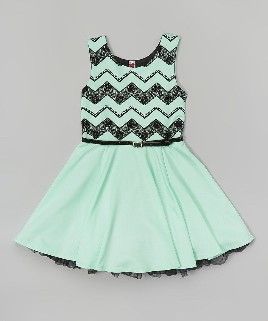 Look at this Mint Chevron Lace Belted Dress on #zulily today!