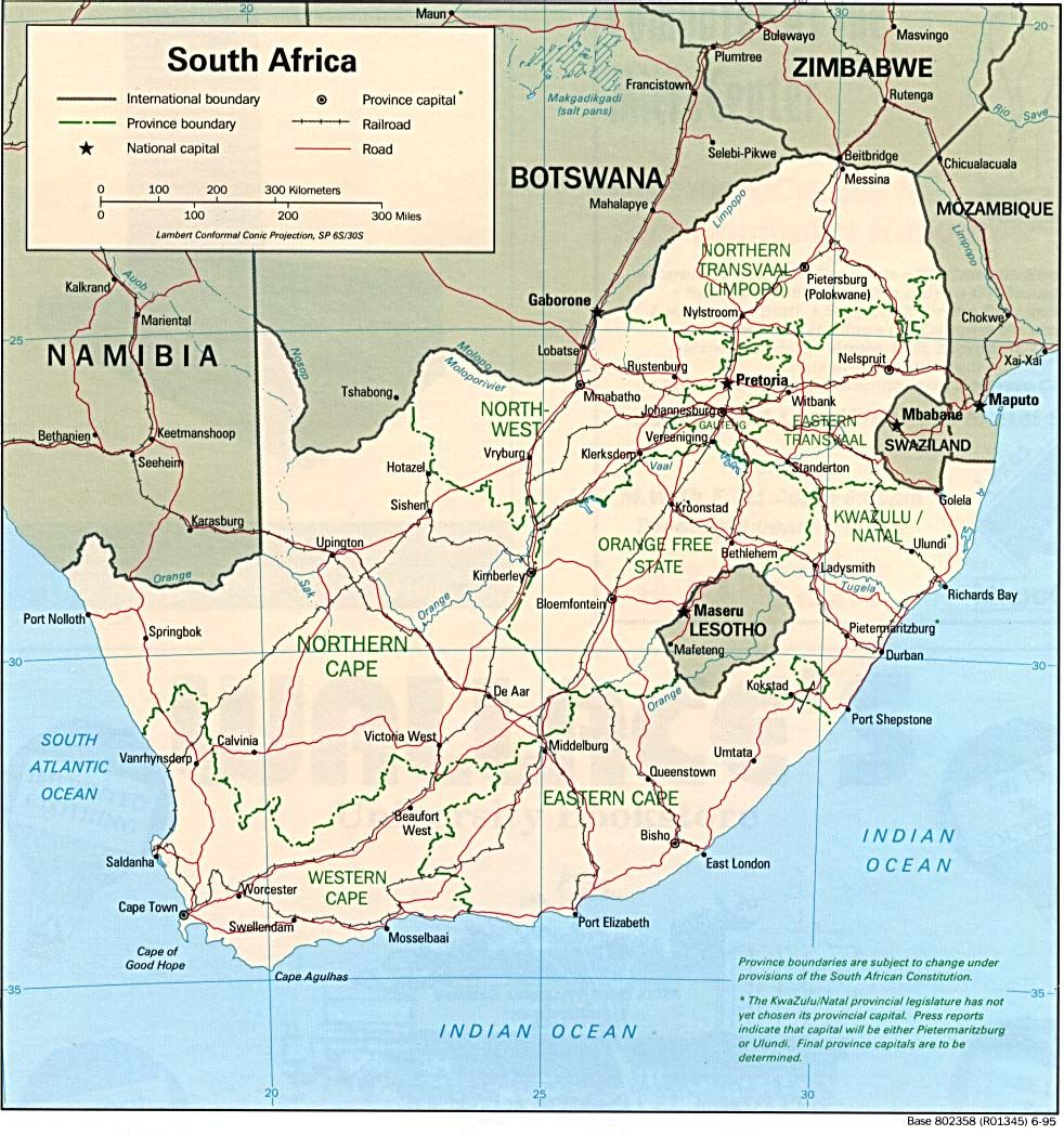 Map of South Africa. Cape Town, Cape of Good Hope, Musselbai ...