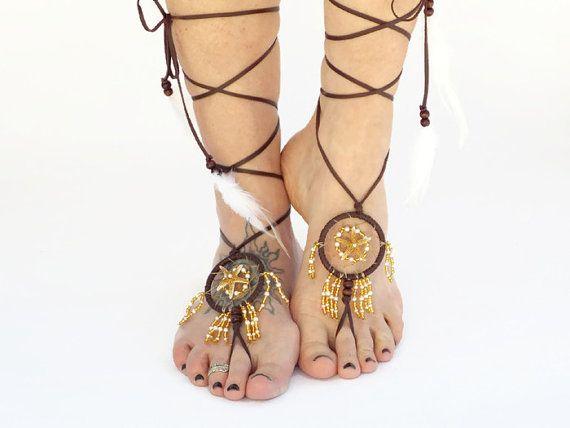 Dream Catcher Wedding Sandals Barefoot Beach Shoes Bride Starfish