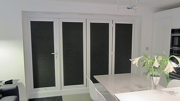 Folding doors with duette blinds recess fitted milletty for Blinds for upvc patio doors