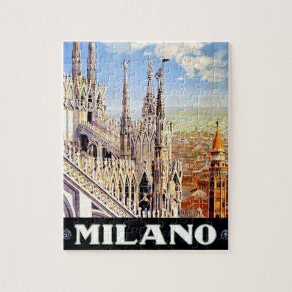 Vintage Milano Travel Illustration Art Jigsaw Puzzle