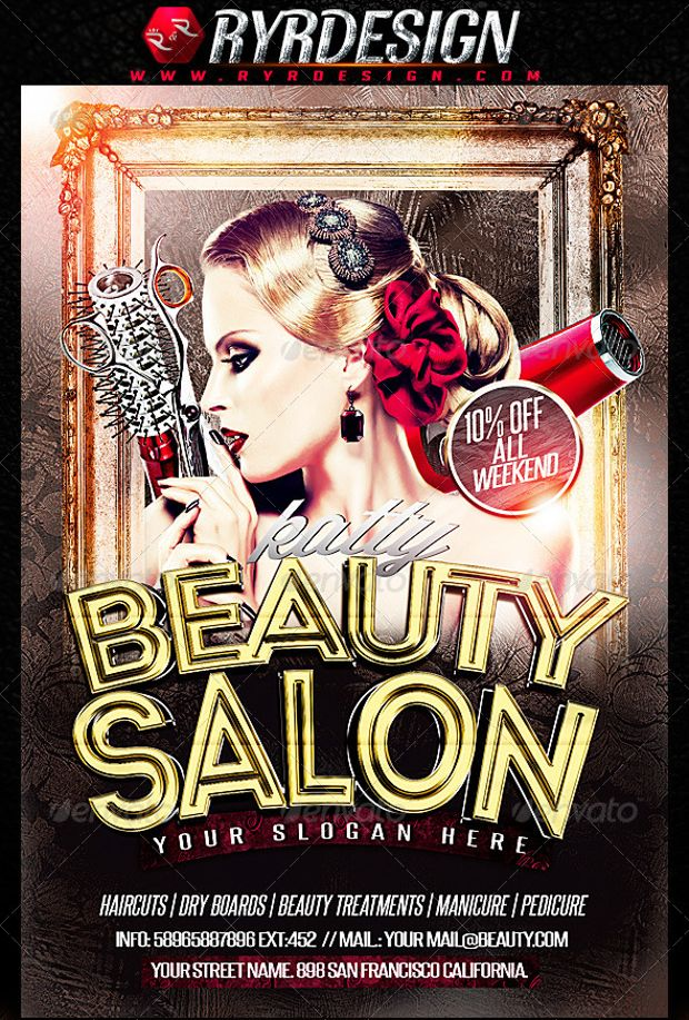 Flat Style Beauty Salons Advertising Psd Flyer  Advertising