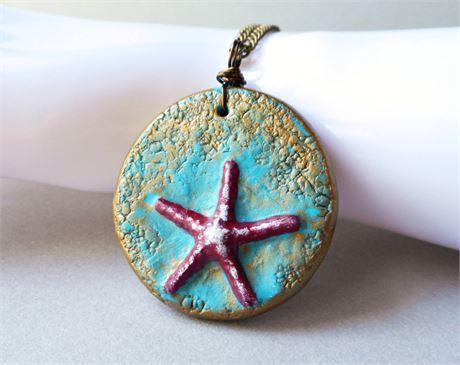 Starfish Necklace Handmade Polymer Clay Art Pendant Necklace Coastal Ocean Handmade Polymer Clay Clay Jewelry Polymer Clay Jewelry