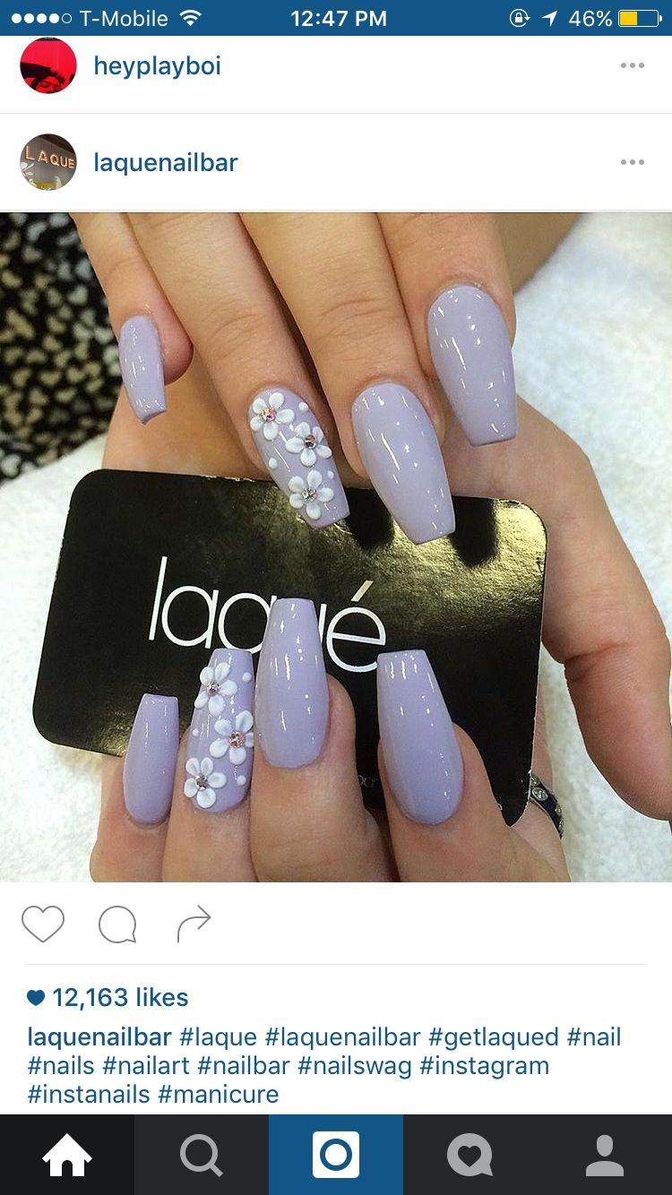 Flower Nails Idea Manicura De Unas Unas De Gel Bonitas Unas Postizas De Gel