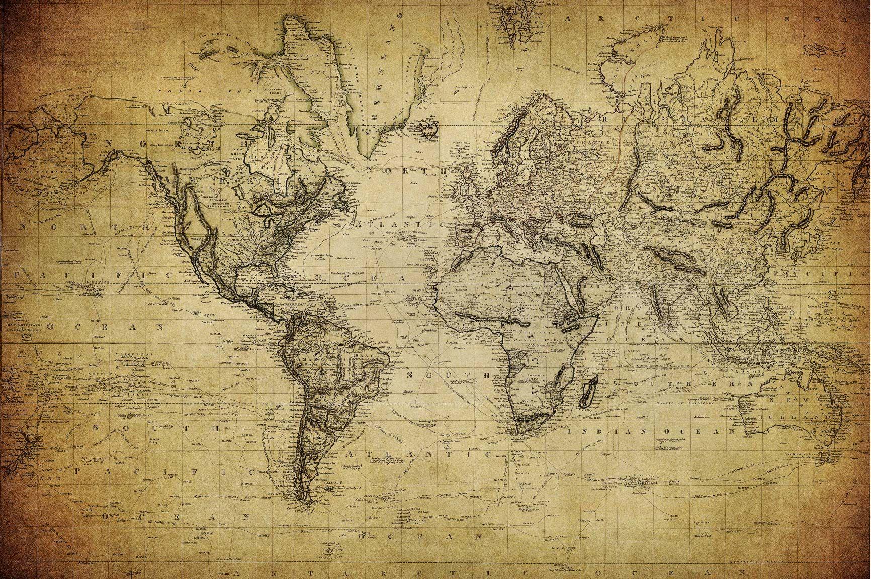 Mapa antiguo en sepia Art carte du monde, Carte du monde