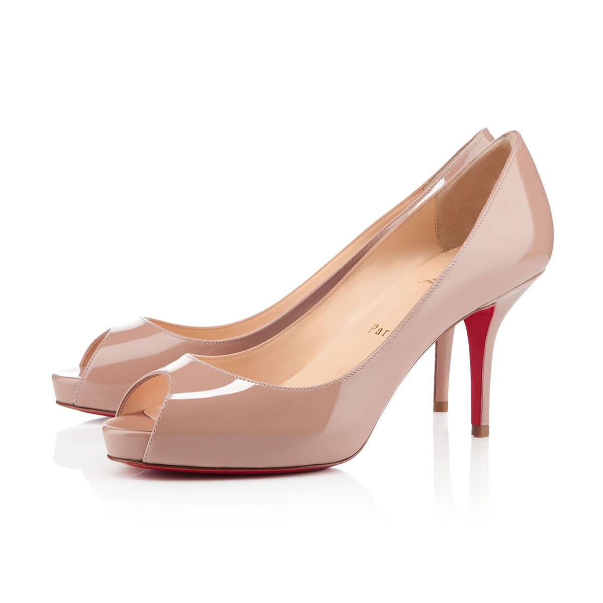 MATER CLAUDE 85 mm, Patent Leather, nude, platforms, womens shoes. Christian  Louboutin ...