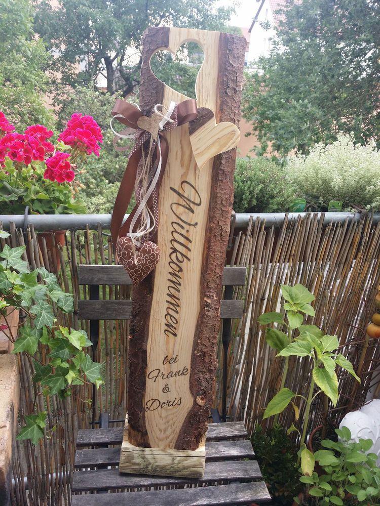 Holz aufsteller willkommen schild holzbalken for Gartengestaltung rustikal