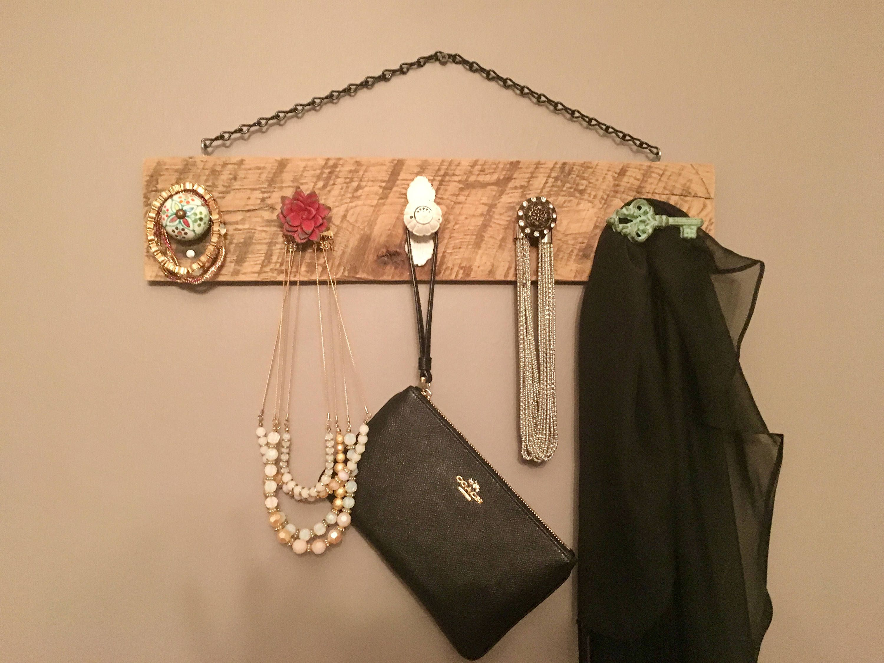 Rustic Wall Jewelry Holder Wall Jewelry Organizer Reclaimed Wood