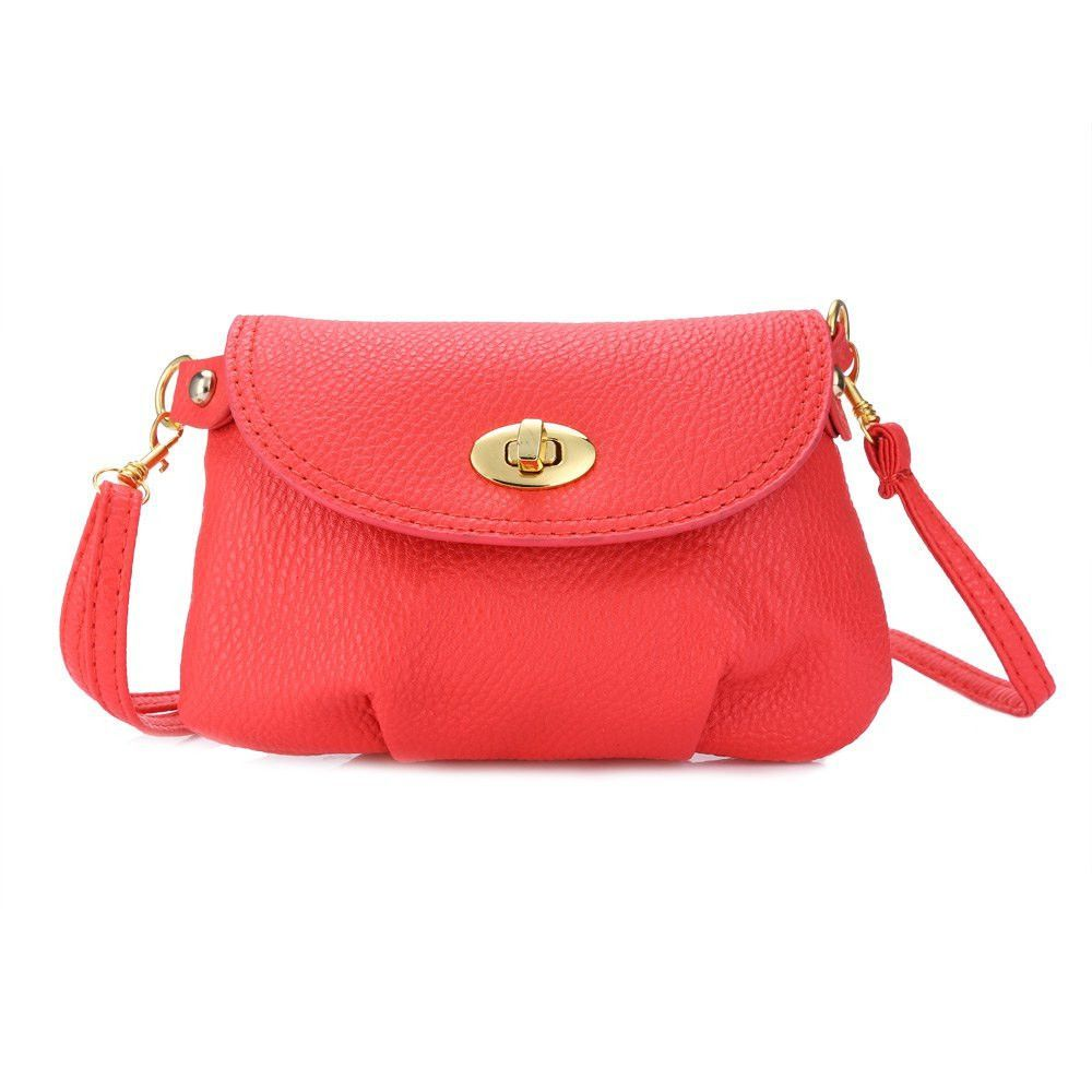 Fashion Red Women Small Bag Solid Color Ruffle Handbag Crossbody Leather Detachable Strap Shoulder Messenger Mini Bag