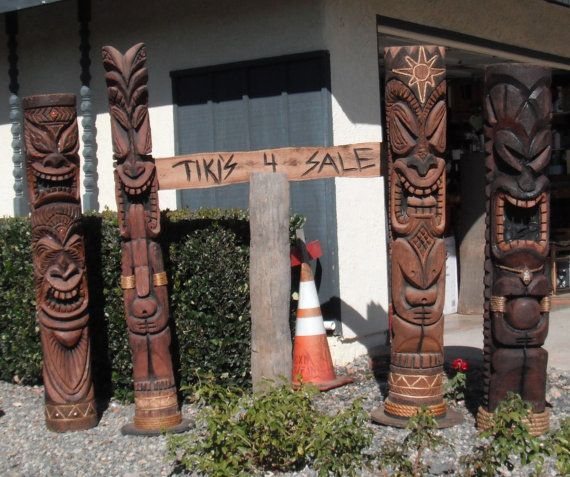 Tikis authentic hand carved chainsaw art sculptures by