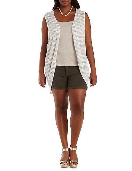 Plus Size Striped Fringe-Back Vest: Charlotte Russe #charlotterusseplus #charlotte0to24 #plussize #vest