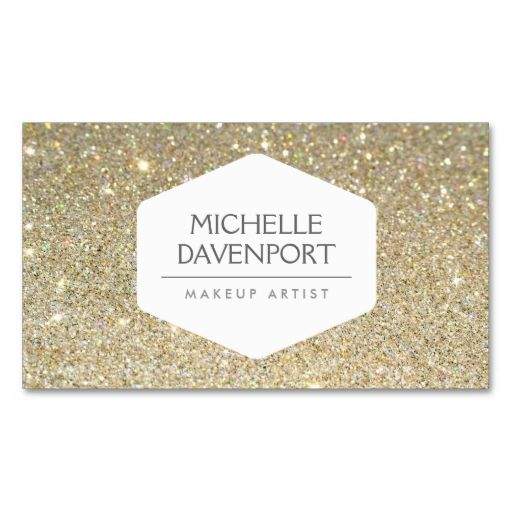 ELEGANT WHITE EMBLEM ON GOLD GLITTER BACKGROUND BUSINESS CARD | Zazzle.com #goldglitterbackground