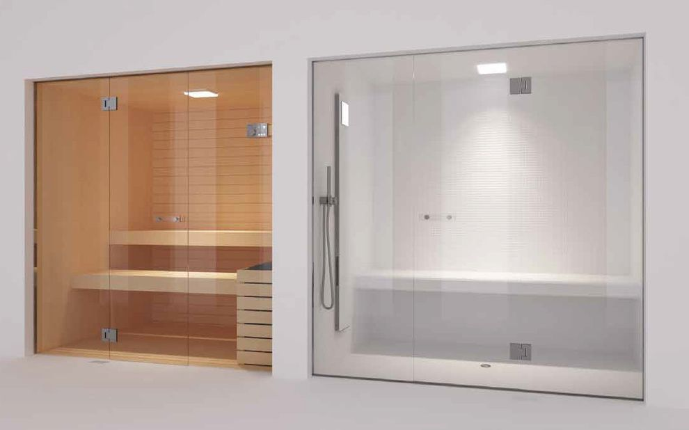 Steam Room Vs Sauna With Contemporary Home Gym Also Frameless