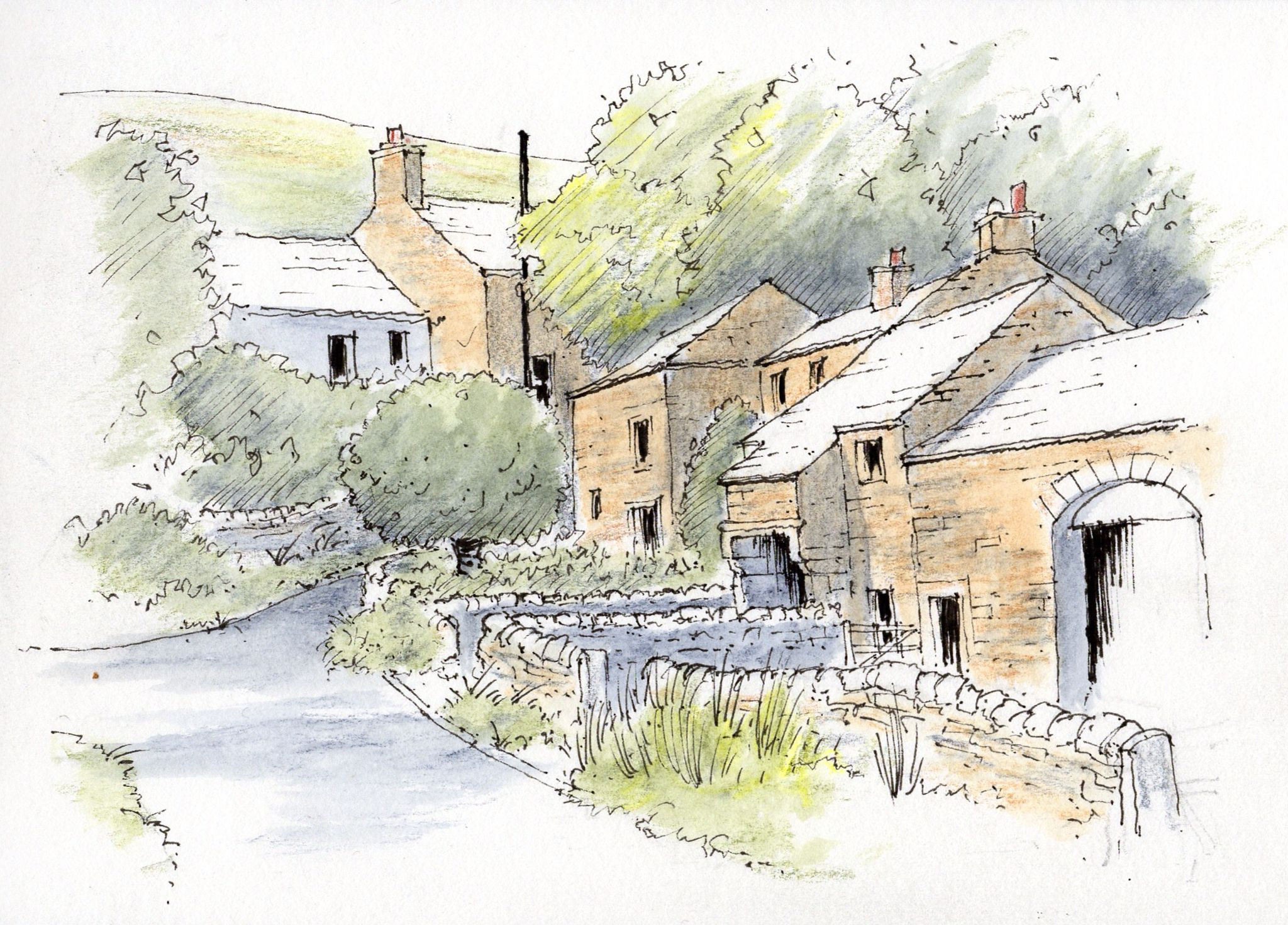 The village of Thorpe in the Yorkshire Dales ~ sketch ~ John Edwards