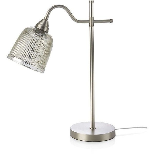 Crate & Barrel Tessa Desk Lamp ($149) ❤ liked on Polyvore featuring home, lighting, desk lamps, reading lights, desk reading lamp, mercury glass shade, gray shades and crate and barrel