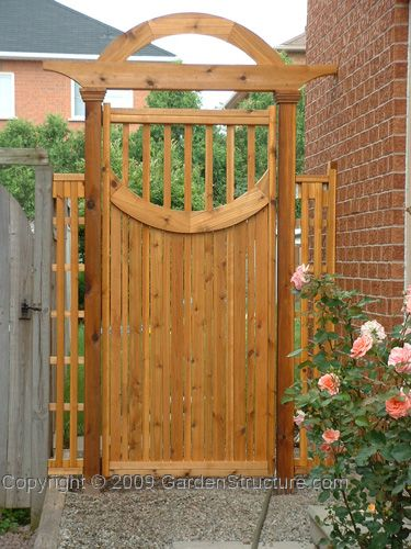 Gate design in semi transparent finish love the shape of for Garden gate designs wood