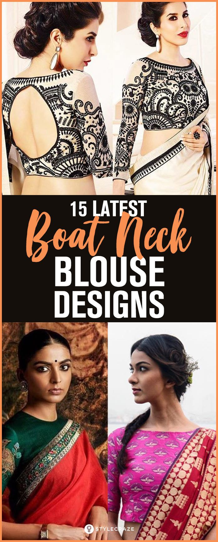 15 Latest Boat Neck Blouse Designs - Front and Back Patterns