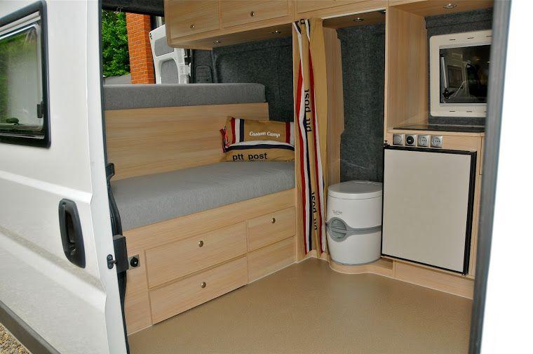 peugeot boxer camper toilet achter gordijn interior vans camper truck camper minivan camping