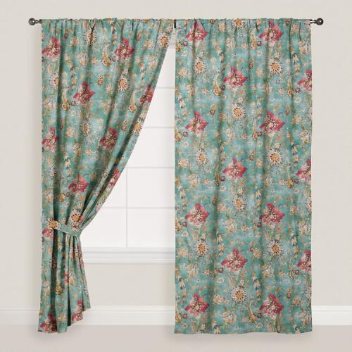 One of my favorite discoveries at WorldMarket.com: Aqua Genevieve Cotton Concealed Tab Top Curtains, Set of 2