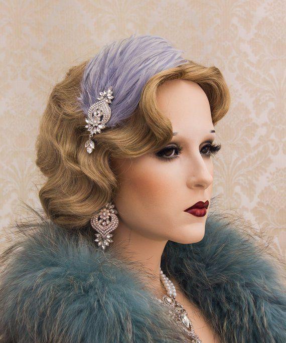 1920s Great Gatsby Headpiece 20s Soiree Flapper Headband Feather Headband Gatsby Flapper Headpiece Art Deco Earrings