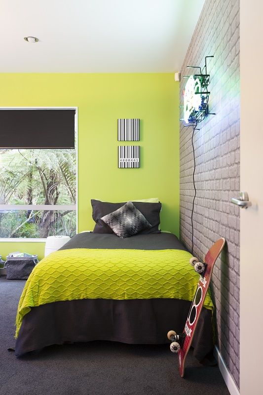 The Final Reveal Zingy Lime Green Wall Teamed With Cool Exposed Brick Wallpaper And Charcoal Carpet For This Green Boys Room Lime Green Bedrooms Bedroom Green
