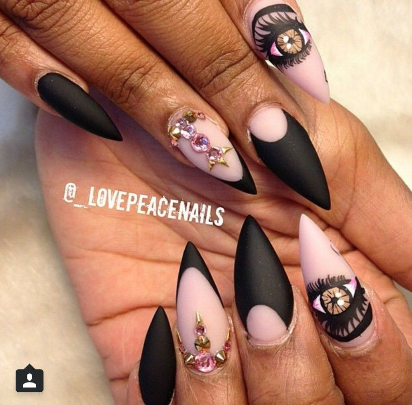 Matte stiletto nails with jewels and eye | Cute Things & That ...