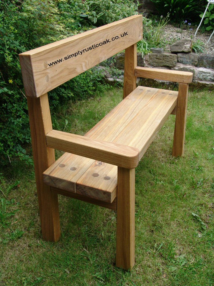 Rustic Oak Garden Bench With Back And Arms. Handmade from Rustic Oak.  Bespoke and unique. Contact us with your requirements for your custom made  Oak ...
