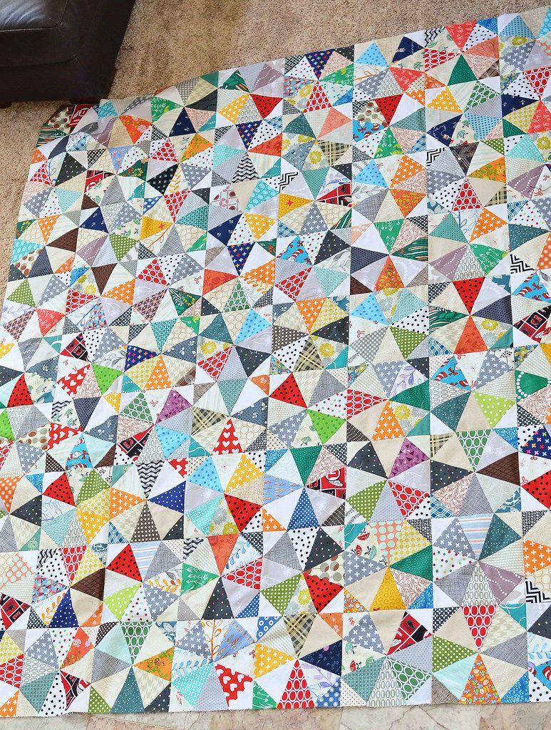 Kaleidoscope scrap quilt top by kitchentablequilting for Scrap quilt