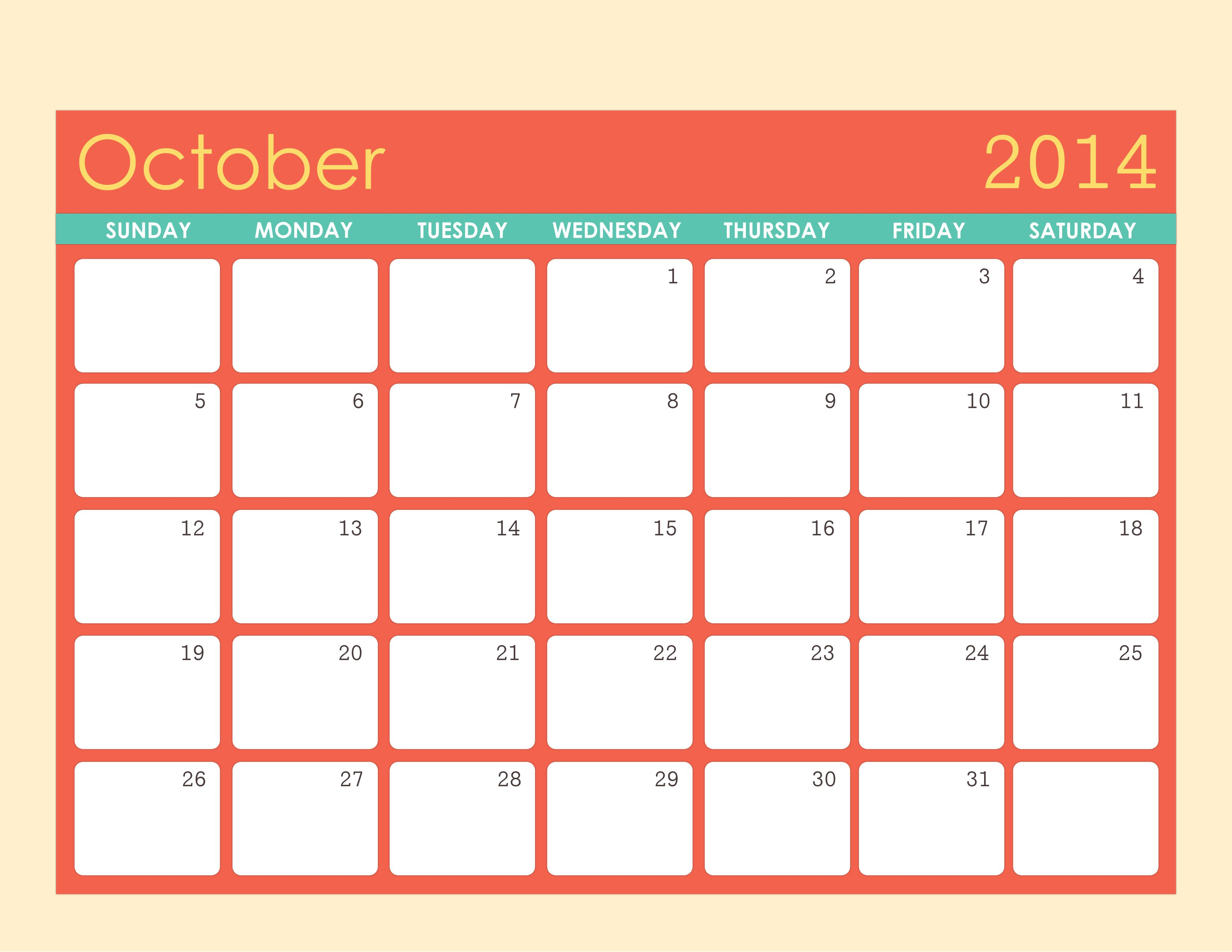 October 2014 Calendar Template Fonts Graphics Pinterest