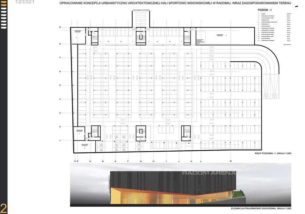 Projekt konkursowy hali sportowej w Radomiu