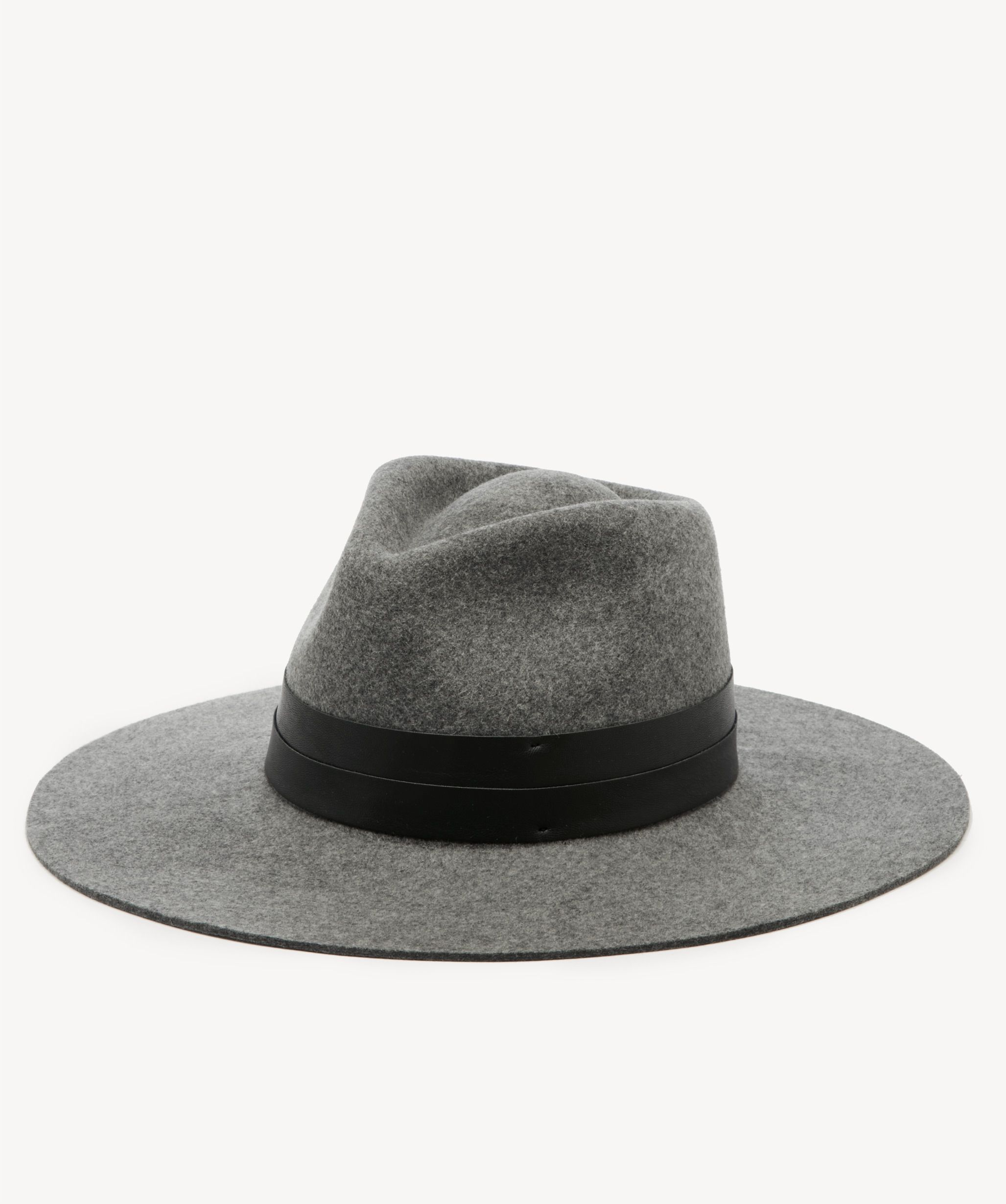3d92bf24 Women's Wide Brim Hat With Double Faux Leather Band Grey | One Size Wool  From Sole Society