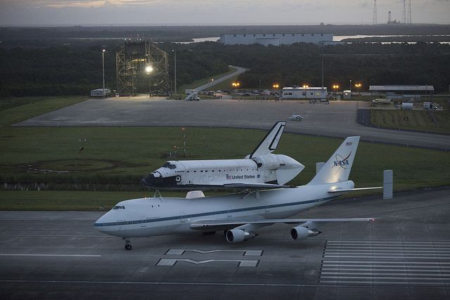 Endeavour Taxis To Runway Atop Shuttle Carrier Aircraft (KSC-2012-5350) by nasa hq photo