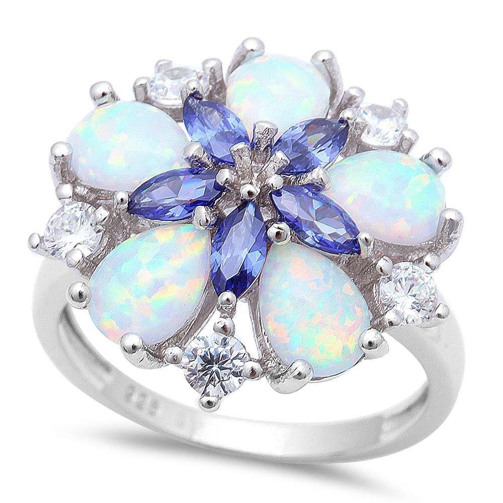 size S 925 STERLING SILVER OPAL /& WHITE ZIRCON LADIES MARQUISE CLUSTER RING