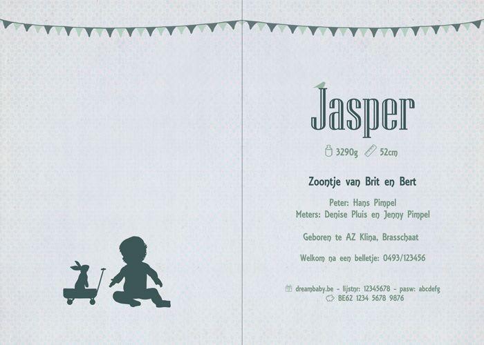 Geboortekaartje Jasper - binnenkant - Pimpelpluis - https://www.facebook.com/pages/Pimpelpluis/188675421305550?ref=hl (# jongen - baby - konijn - bolderkar - silhouet - lief - origineel)