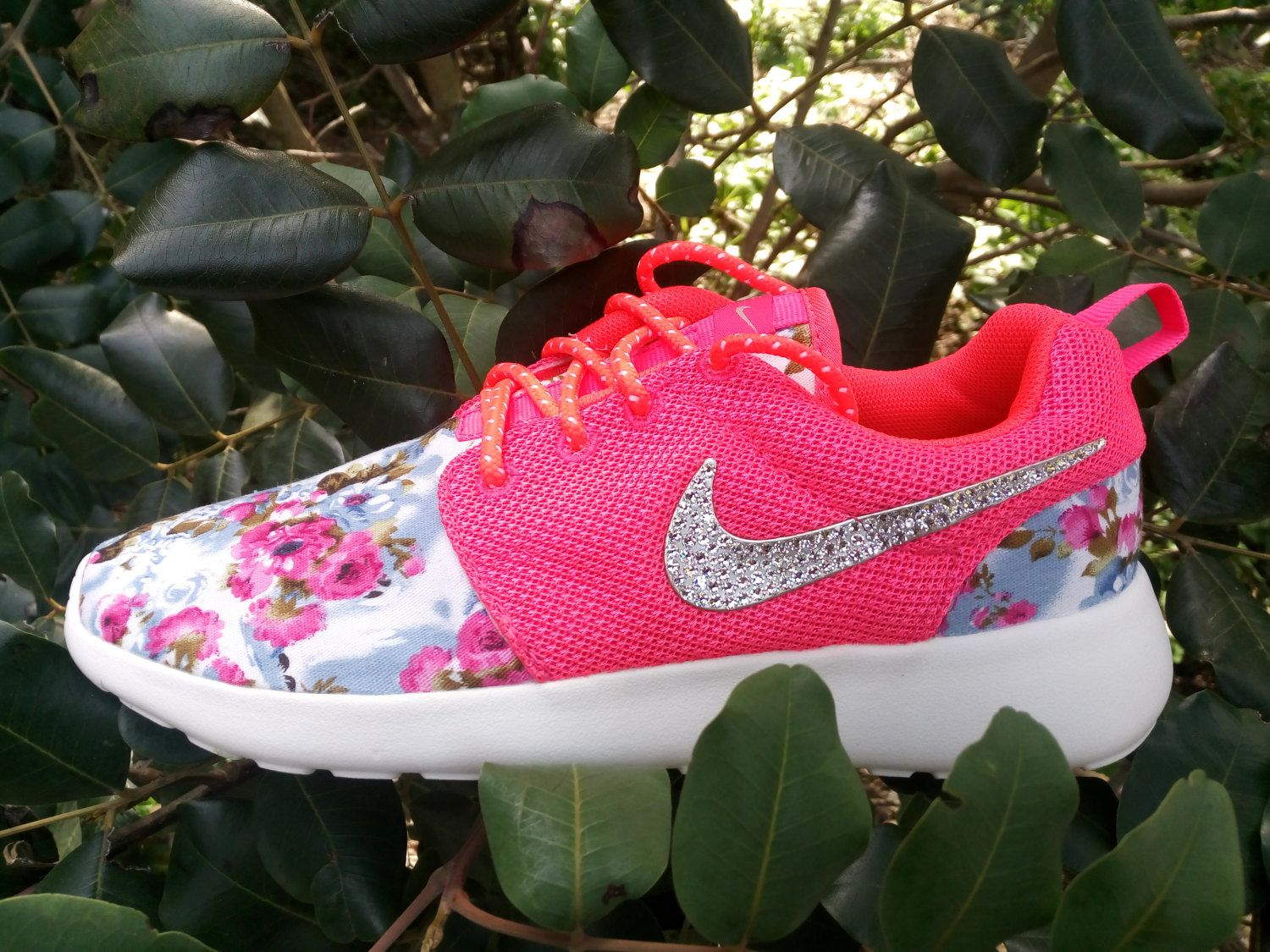 custom nike roshe run floral women athletic shoes nike roshe with fabric  floral and blinged with