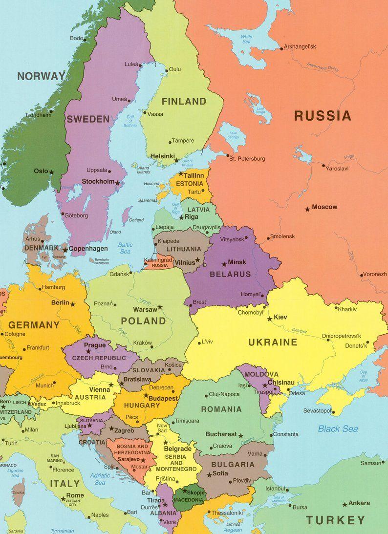 Digital Modern Map Of Europe Printable Download Large Europe Map Digital Etsy Europe Map Eastern Europe Map European Map